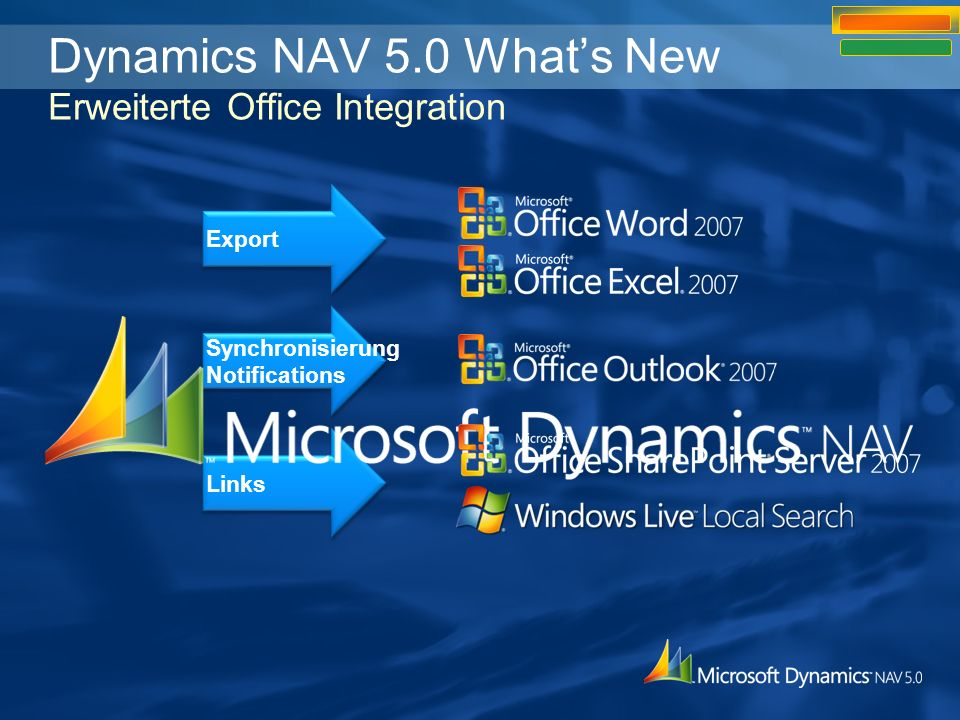 Dynamics NAV 5.0 What's New Erweiterte Office Integration