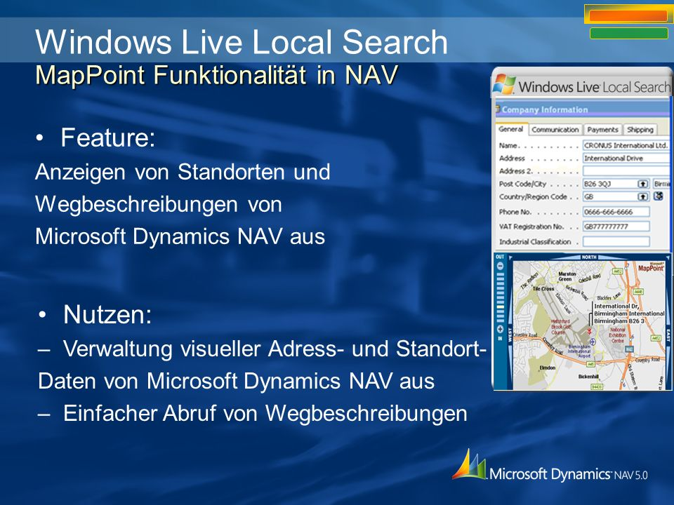 Windows Live Local Search MapPoint Funktionalität in NAV