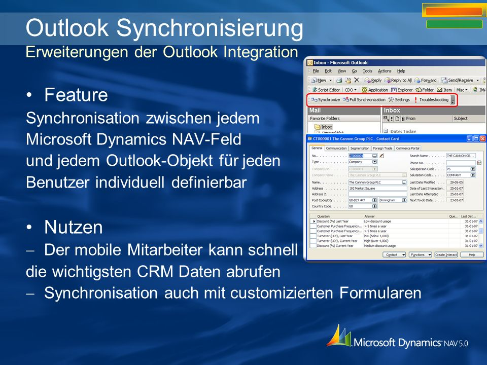 Outlook Synchronisierung Erweiterungen der Outlook Integration