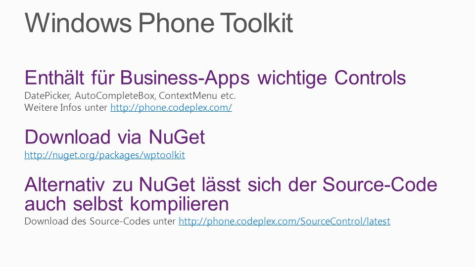 Windows Phone Toolkit Enthält für Business-Apps wichtige Controls
