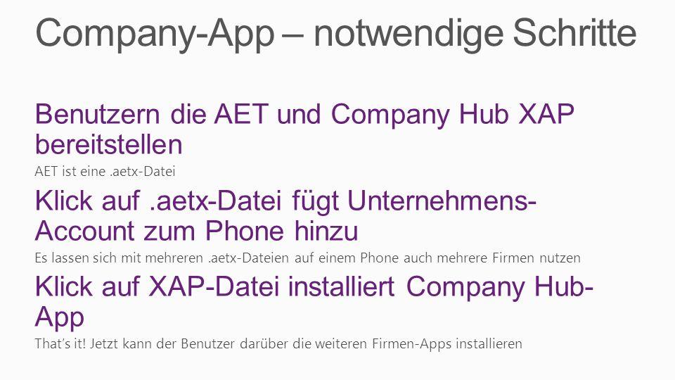 Company-App – notwendige Schritte