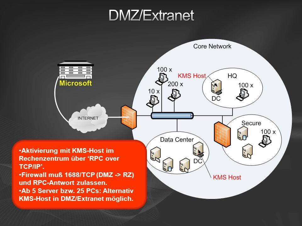 DMZ/Extranet Aktivierung mit KMS-Host im Rechenzentrum über 'RPC over TCP/IP'. Firewall muß 1688/TCP (DMZ -> RZ) und RPC-Antwort zulassen.