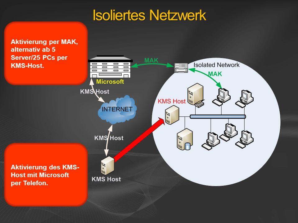 Isoliertes Netzwerk Aktivierung per MAK, alternativ ab 5 Server/25 PCs per KMS-Host.