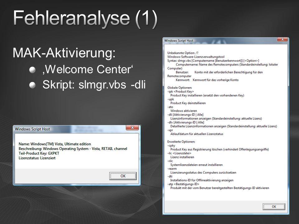 Fehleranalyse (1) MAK-Aktivierung: 'Welcome Center'