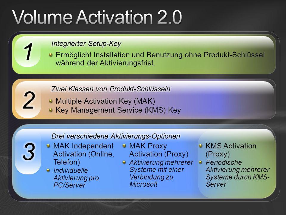 Volume Activation 2.0 1. Integrierter Setup-Key. Ermöglicht Installation und Benutzung ohne Produkt-Schlüssel während der Aktivierungsfrist.