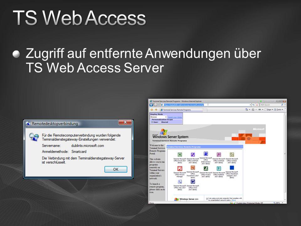 TS Web Access Zugriff auf entfernte Anwendungen über TS Web Access Server
