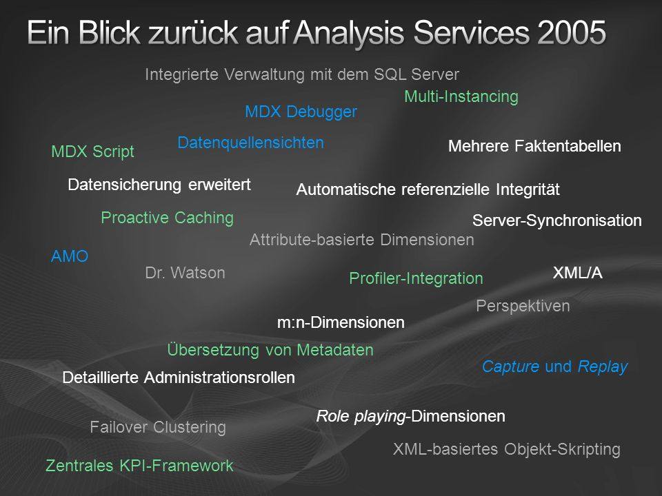 Ein Blick zurück auf Analysis Services 2005