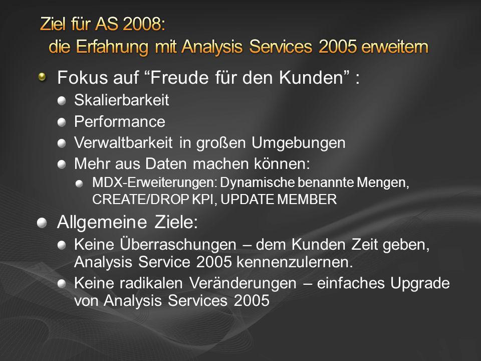 Ziel für AS 2008: die Erfahrung mit Analysis Services 2005 erweitern
