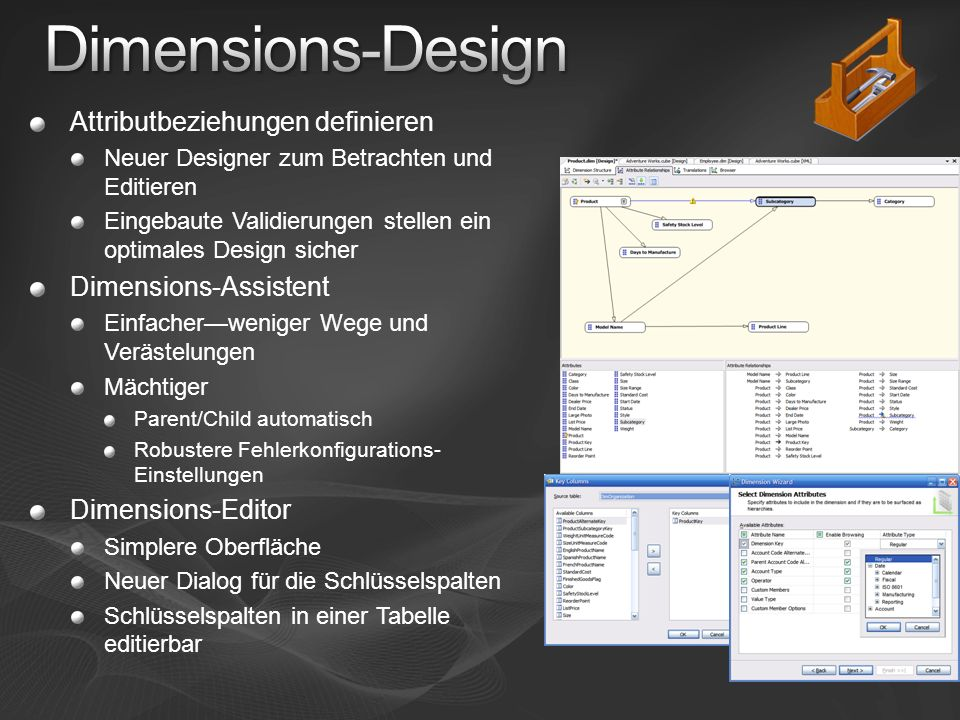 Dimensions-Design Attributbeziehungen definieren Dimensions-Assistent
