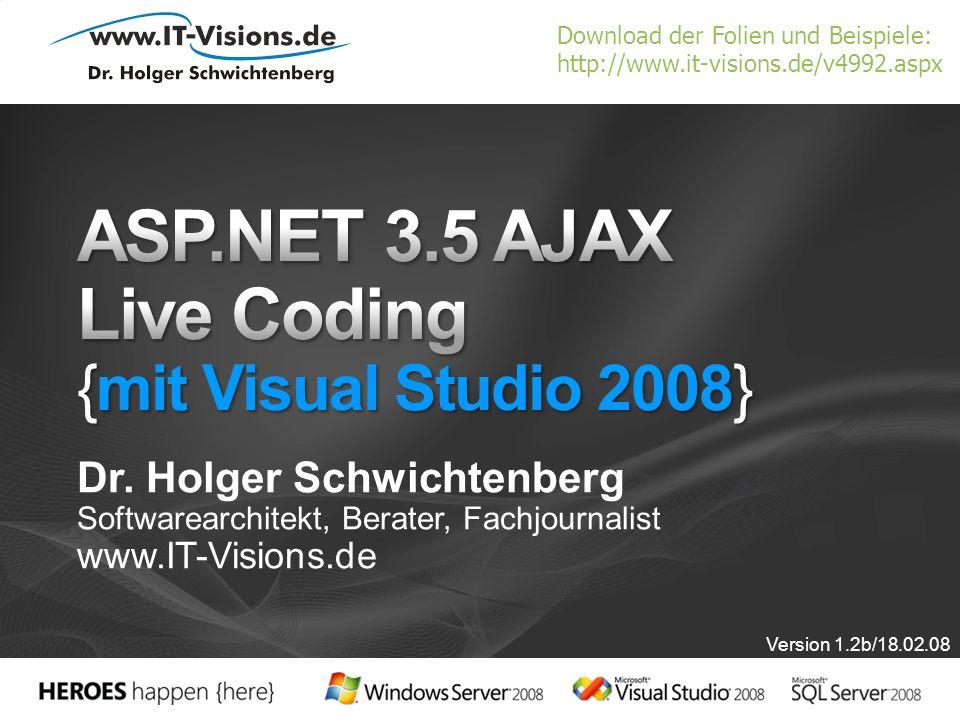 ASP.NET 3.5 AJAX Live Coding {mit Visual Studio 2008}