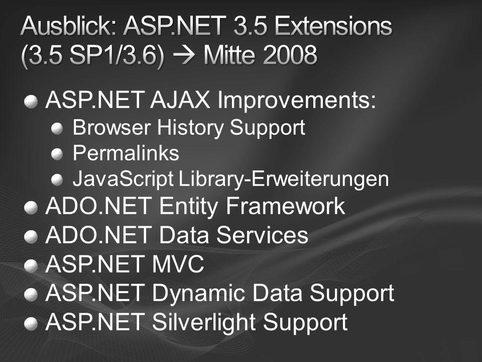 Ausblick: ASP.NET 3.5 Extensions (3.5 SP1/3.6)  Mitte 2008
