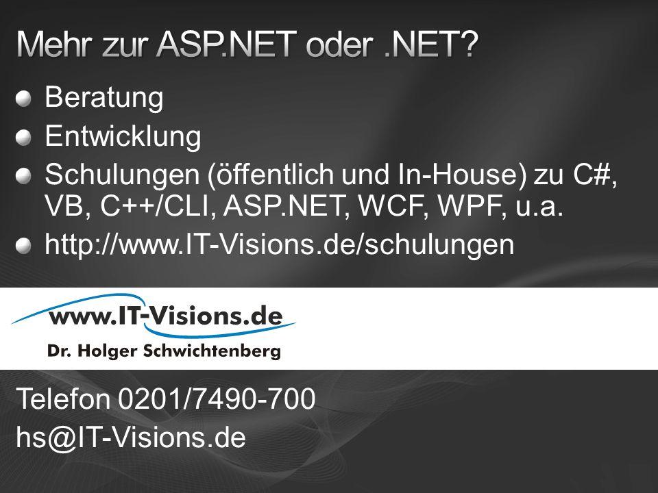 Mehr zur ASP.NET oder .NET