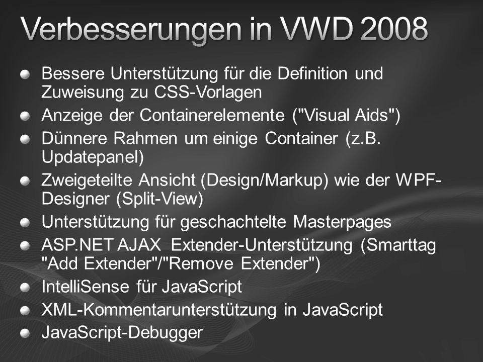 Verbesserungen in VWD 2008 Bessere Unterstützung für die Definition und Zuweisung zu CSS-Vorlagen. Anzeige der Containerelemente ( Visual Aids )