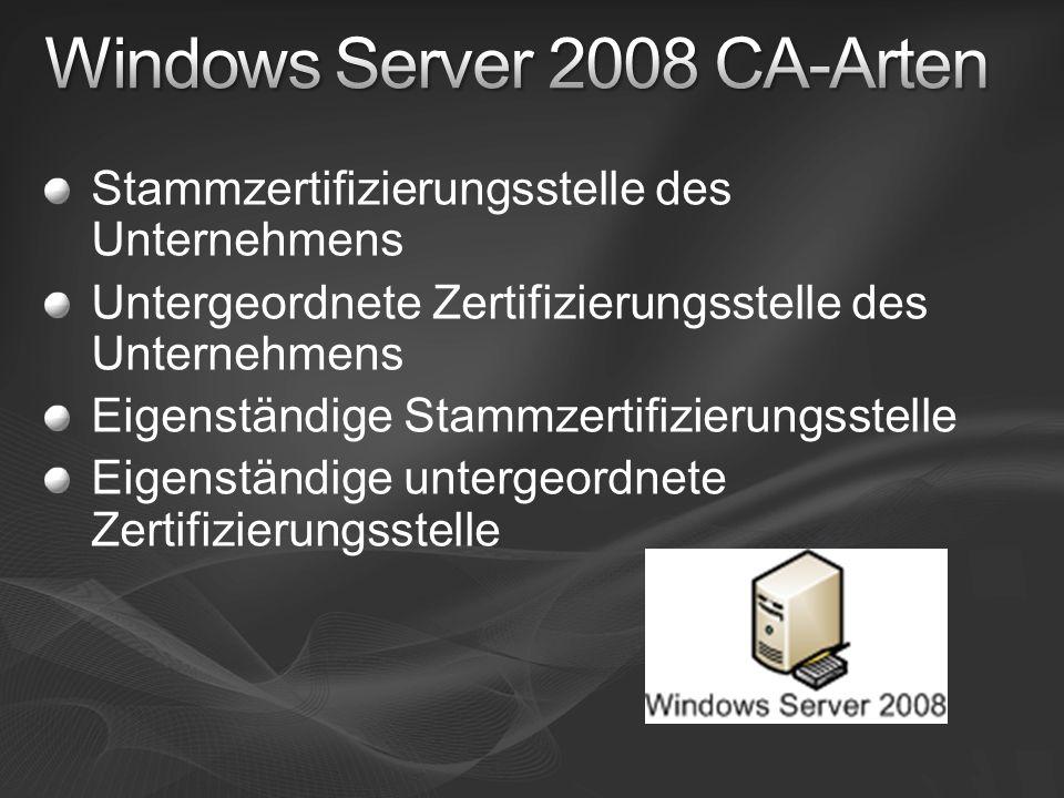 Windows Server 2008 CA-Arten