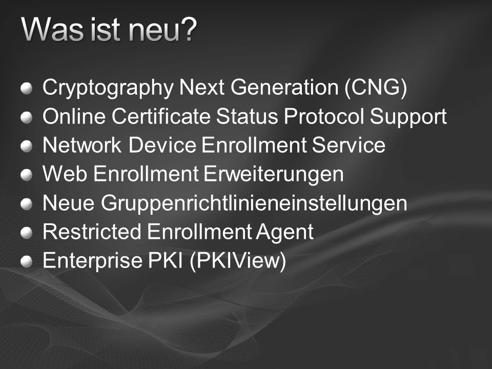 Was ist neu Cryptography Next Generation (CNG)
