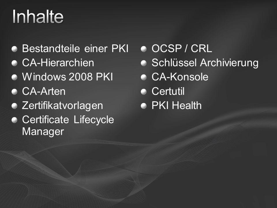 Inhalte Bestandteile einer PKI CA-Hierarchien Windows 2008 PKI