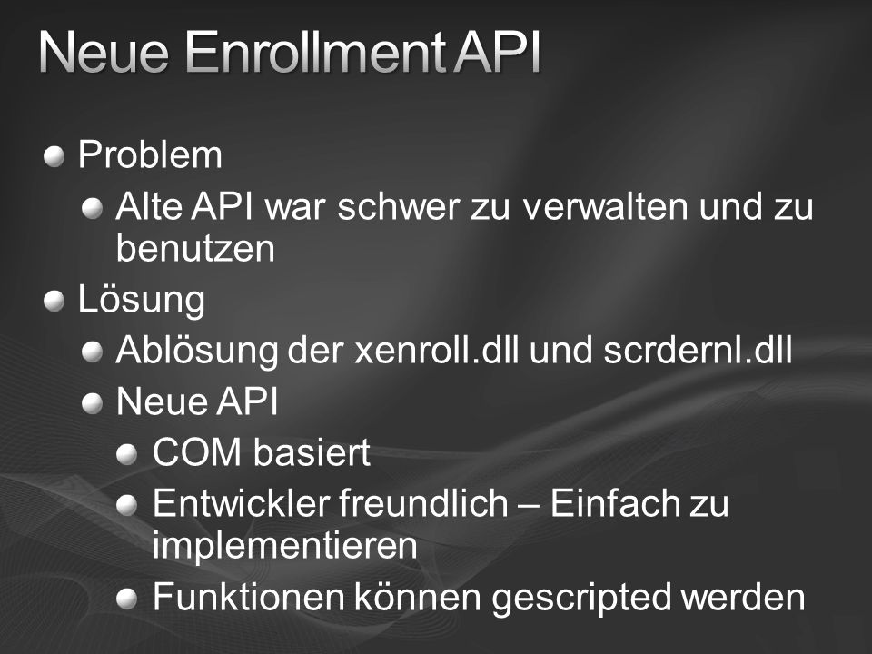 Neue Enrollment API Problem