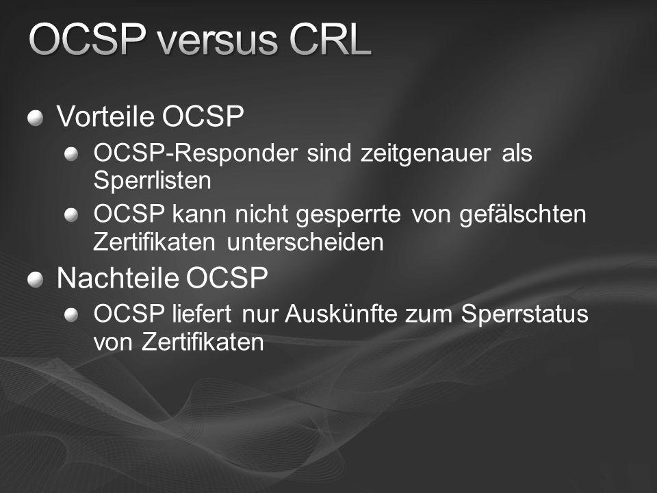 OCSP versus CRL Vorteile OCSP Nachteile OCSP