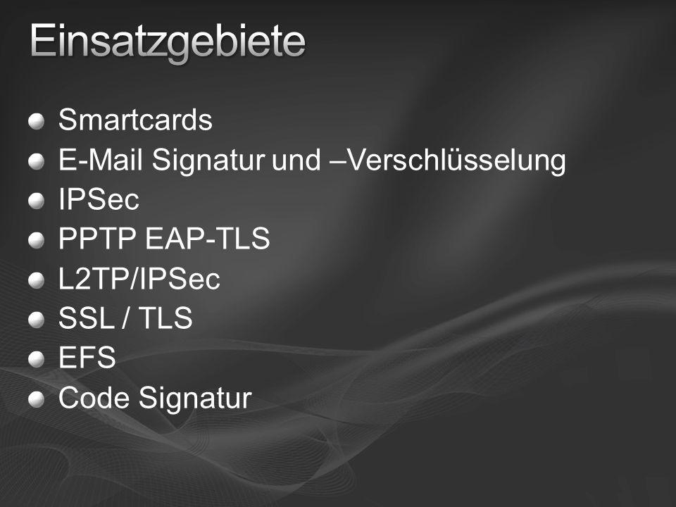Einsatzgebiete Smartcards E-Mail Signatur und –Verschlüsselung IPSec
