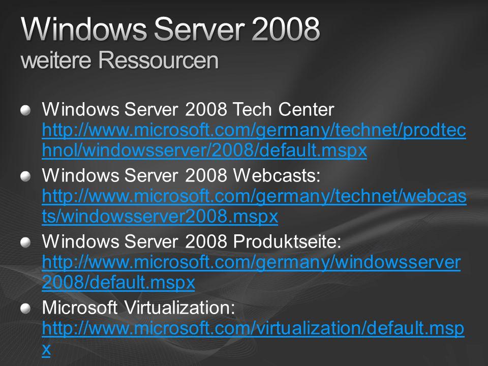 Windows Server 2008 weitere Ressourcen