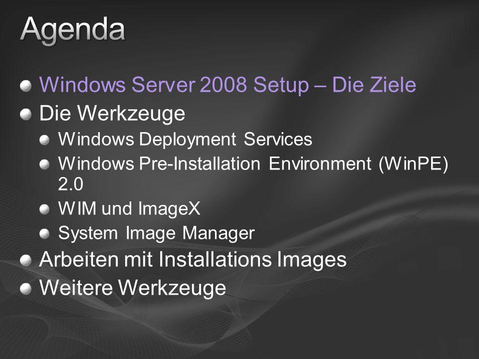 Agenda Windows Server 2008 Setup – Die Ziele Die Werkzeuge