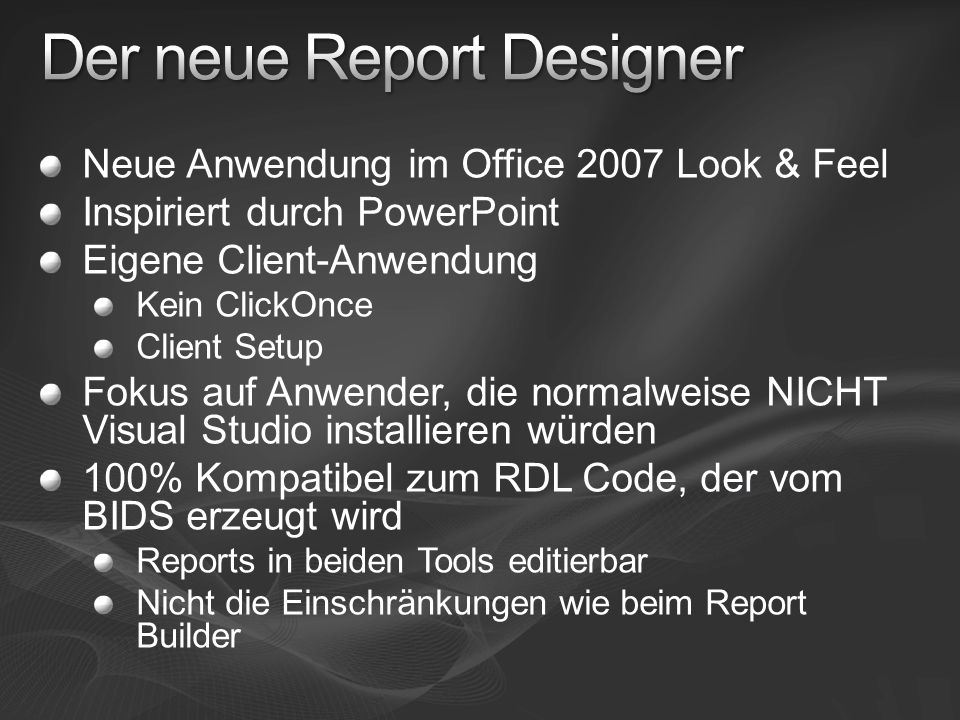 Der neue Report Designer
