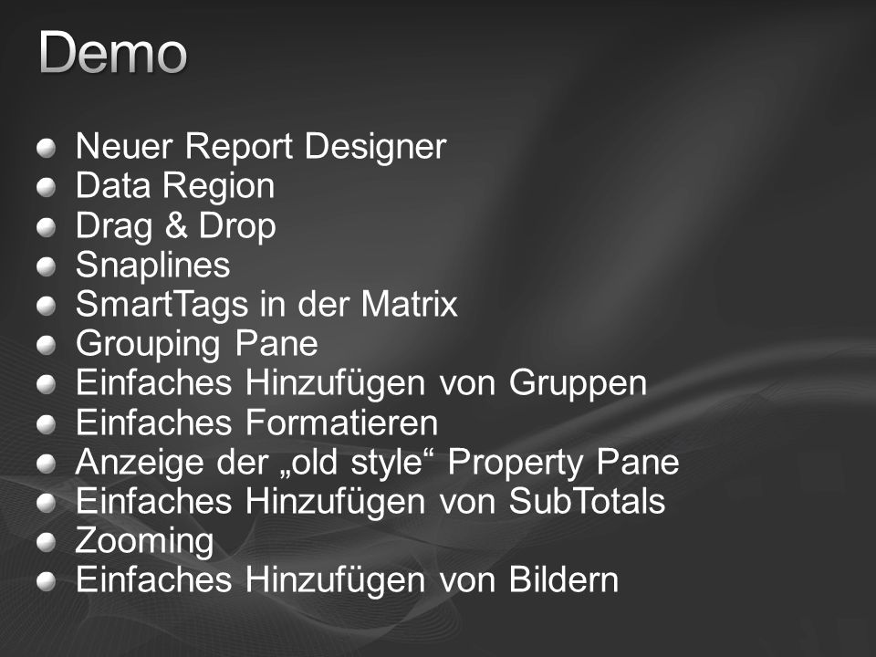 Demo Neuer Report Designer Data Region Drag & Drop Snaplines