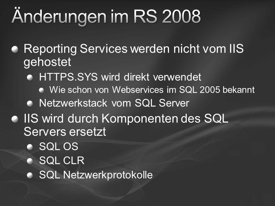Änderungen im RS 2008 Reporting Services werden nicht vom IIS gehostet