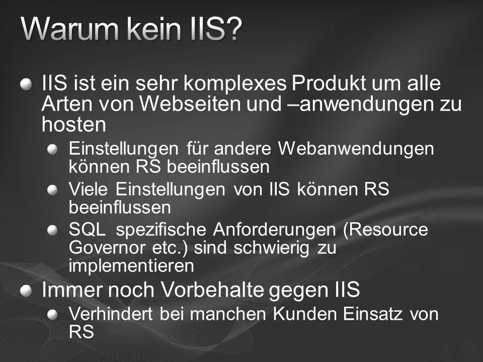 Warum kein IIS IIS ist ein sehr komplexes Produkt um alle Arten von Webseiten und –anwendungen zu hosten.