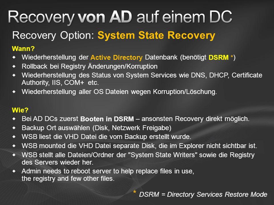 Recovery von AD auf einem DC