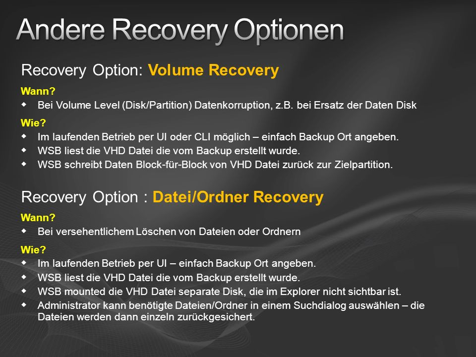Andere Recovery Optionen