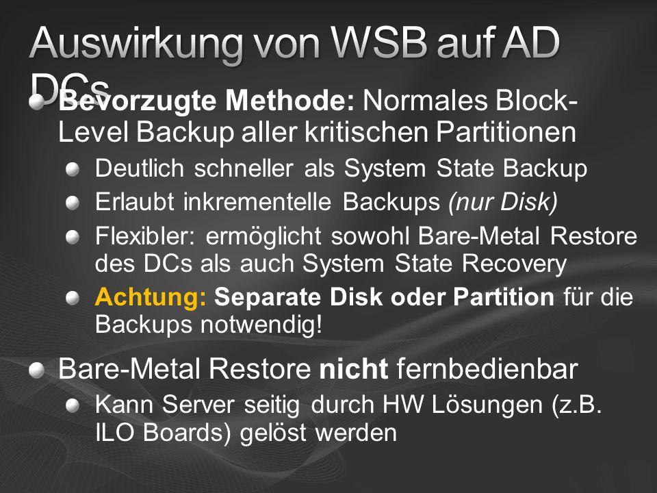 Auswirkung von WSB auf AD DCs