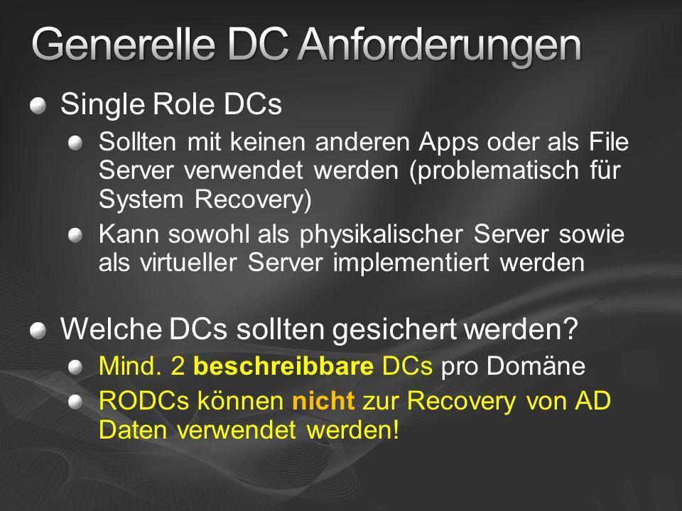 Generelle DC Anforderungen