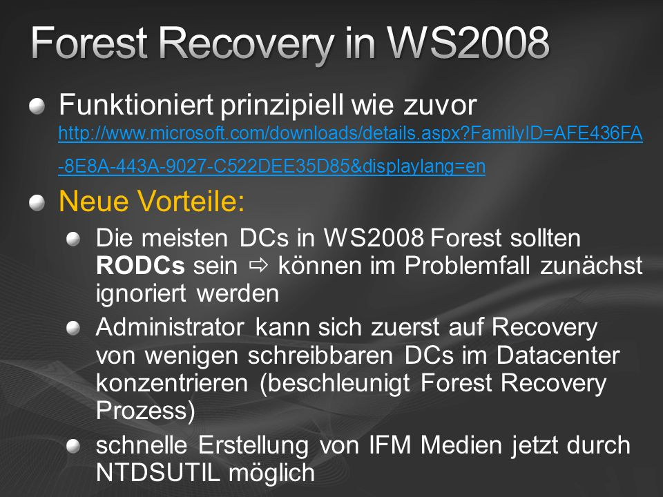 Forest Recovery in WS2008