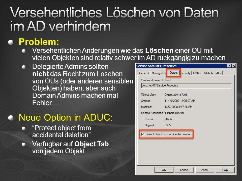 Versehentliches Löschen von Daten im AD verhindern