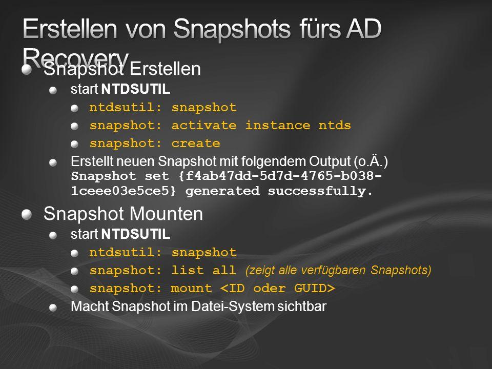 Erstellen von Snapshots fürs AD Recovery