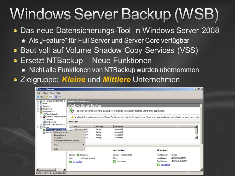 Windows Server Backup (WSB)