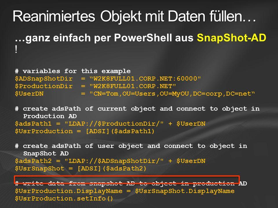 Reanimiertes Objekt mit Daten füllen…