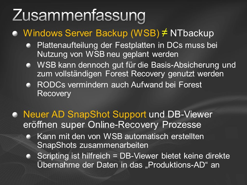 Zusammenfassung Windows Server Backup (WSB) ≠ NTbackup