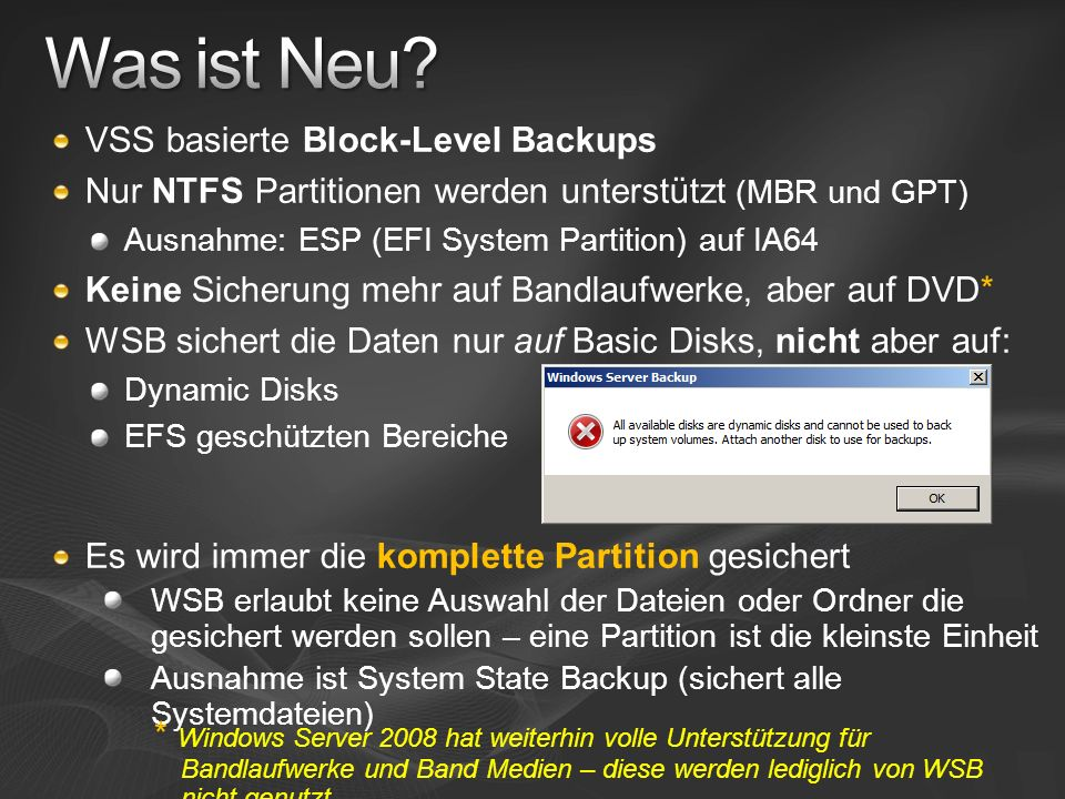Was ist Neu VSS basierte Block-Level Backups