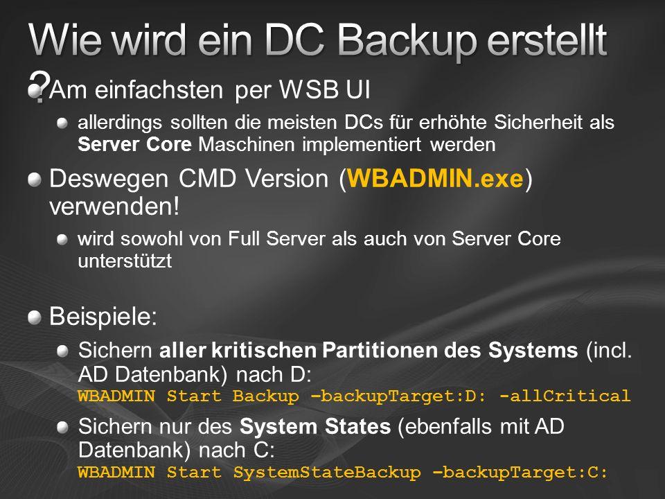 Wie wird ein DC Backup erstellt