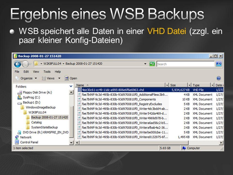 Ergebnis eines WSB Backups