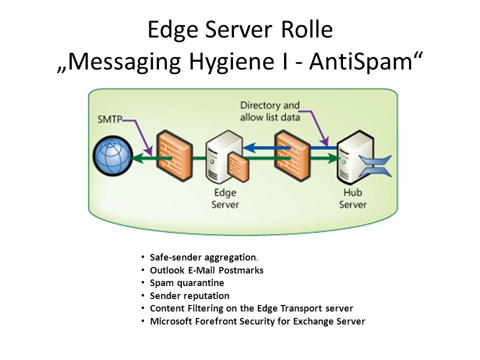 """Edge Server Rolle """"Messaging Hygiene I - AntiSpam"""