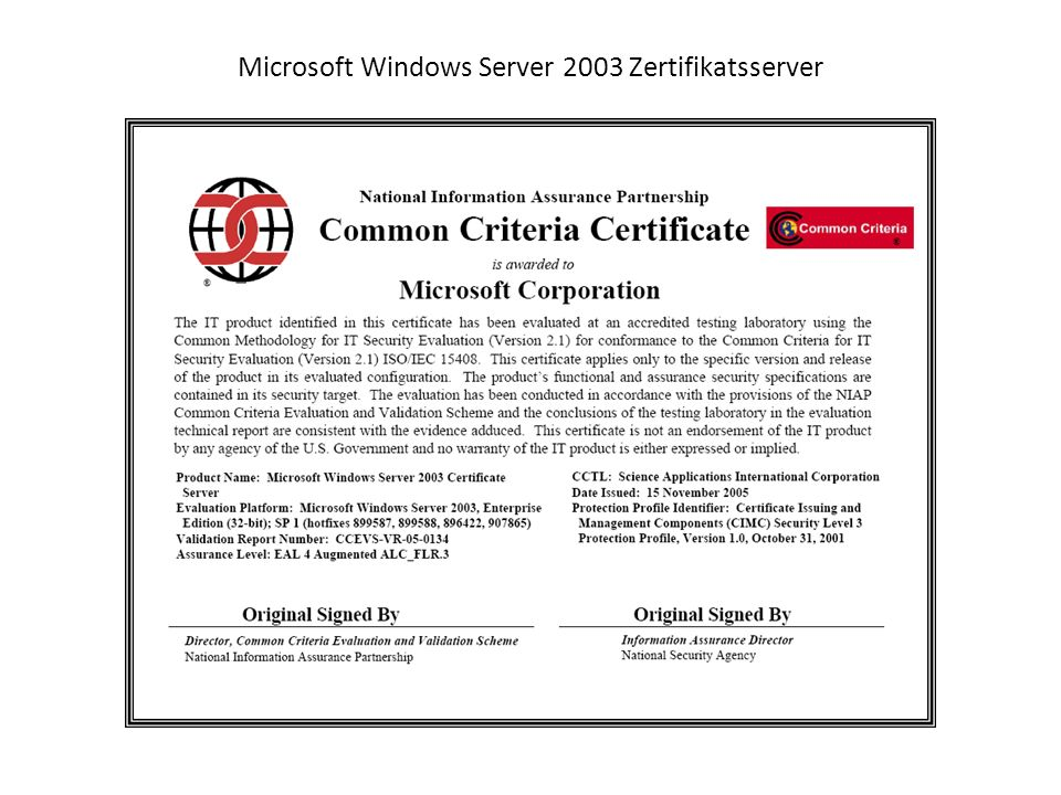 Microsoft Windows Server 2003 Zertifikatsserver