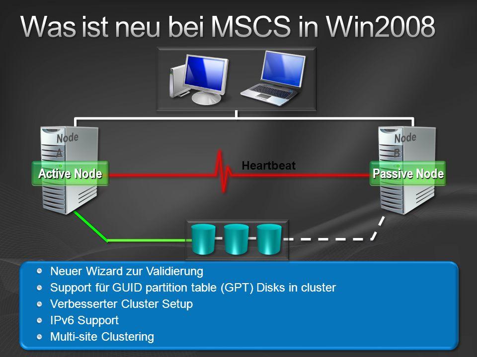 Was ist neu bei MSCS in Win2008