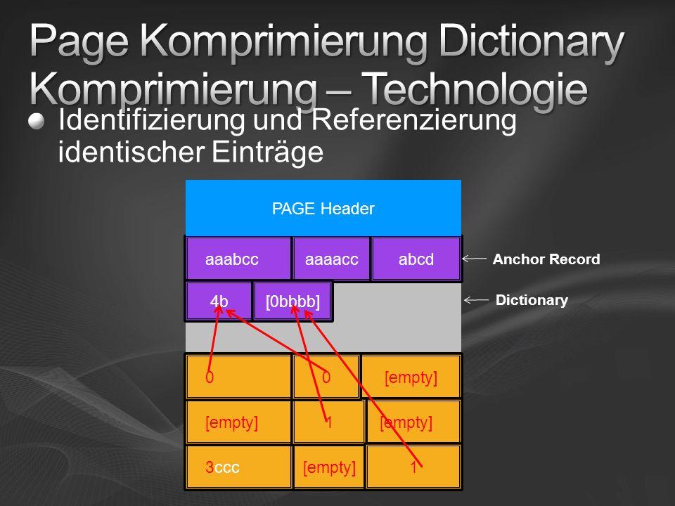 Page Komprimierung Dictionary Komprimierung – Technologie