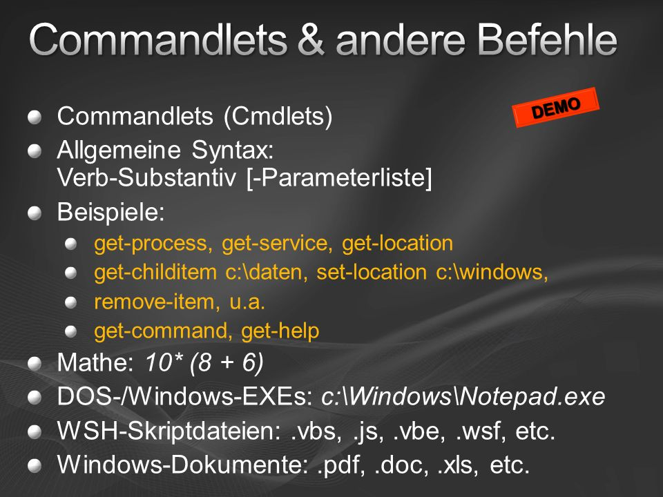 Commandlets & andere Befehle