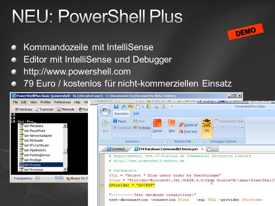 NEU: PowerShell Plus Kommandozeile mit IntelliSense