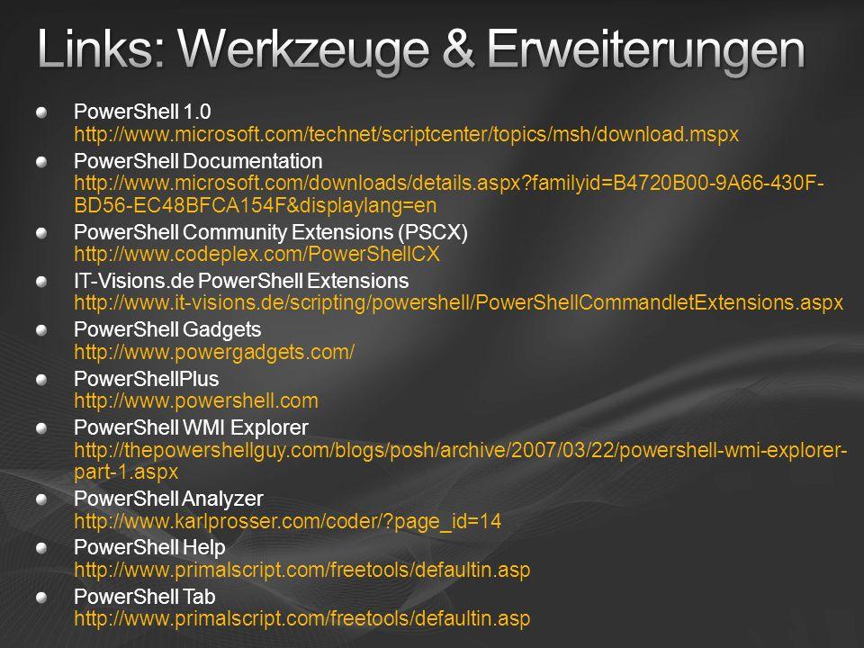 Links: Werkzeuge & Erweiterungen