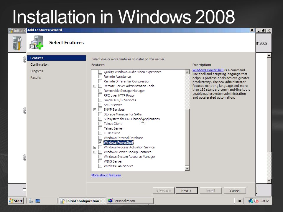 Installation in Windows 2008